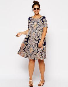 ASOS CURVE Swing Dress In Paisley Print