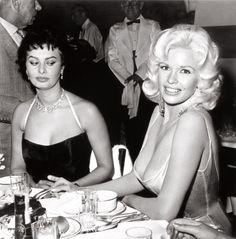 Jayne Mansfield and Sophia Loren at Romanoff's in Beverly Hills by Joe Shere, 1958