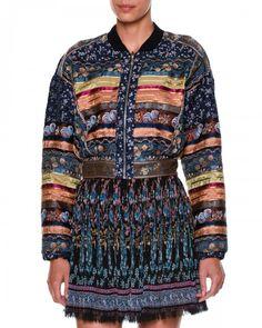 Etro+Long+Sleeve+Ribbon+Bomber+Jacket+Blue+Multi+Women's+44+10+Us+Blue+Multi+|+Coat,+Jacket+and+Clothing