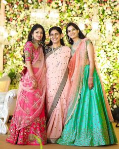 Almost every south Indian bride wears a Kanjeevaram on her wedding day. But what are they wearing on their mehendi? Is it a half saree or a lehenga? Bridal Lehenga 2017, Designer Bridal Lehenga, Bridal Lehenga Choli, Wedding Sarees, Designer Lehanga, Designer Dresses, Designer Sarees, Half Saree Lehenga, Kids Lehenga