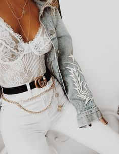 JUST SO GORGEOUS, FROM HER GLORIOUS WHITE BUSTIER, AWESOME LEATHER BELT, WHITE PANTS, BEAUTIFUL 'WAIST BLING' & AMAZING EMBROIDERED, BLUE DENIM JACKET!