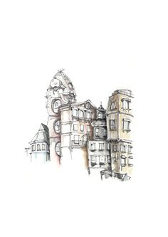 Urban sketch drawing building watercolor architecture