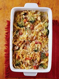 Tuna Noodle Casserole - Use reduced fat soup and fat-free milk to make this favorite casserole lower in fat and calories. Adding a variety of vegetables makes it more nutritious than the traditional recipe.