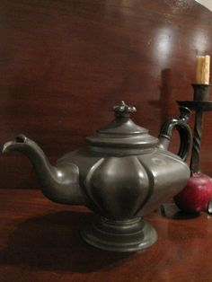 Antique 1800s English Pewter Teapot SOLD from North Bayshore Antiques