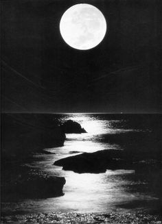 Beach at night, black and white