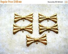 Clearance Sale Bow Stampings - Embellishments - Brass Lot - Brass Findings by BohemianGypsyCaravan