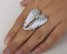 Penny Auctions Canada | Clear Aurora Borealis Crystal Angel Wing Ring