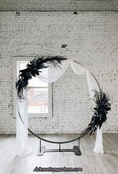 wedding floral moon gates simple arch white tulle willowberryfloral Dreamy full moon shaped arches are the hottest floral trend for Floral moon gates make a pretty epic backdrop for your vows but can also double up as a Moon Wedding, Lilac Wedding, Floral Wedding, Diy Wedding, Wedding Ceremony, Ceremony Arch, Wedding Arch Tulle, Nautical Wedding, Wedding Attire