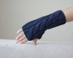 Knit Fingerless Gloves knit wrist cuffs by SENNURSASA on Etsy