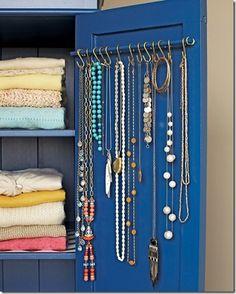 Five Favorites: Organization.  #1 Necklace organizer inside cabinet or armoire door