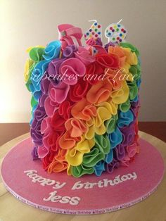 Rainbow Cake by Cupcakes and Lace  Wish I had this for my 18th!!  Super cute!!