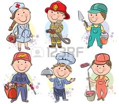 Professions kids set vector 1291604 - by pinkcoala on VectorStock® Kids Vector, Vector Free, Drawing For Kids, Art For Kids, Retro Background, Beach Kids, Kids Wallpaper, Kids Logo, Kids Writing