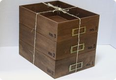 ... office with stacking wood storage crates {Anthropologie knock off