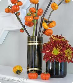 wine bottle vases. love.