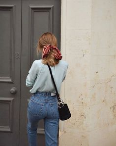 high waisted girlfriend jeans with a light blue blouse and a red bandana ponytai… - Hair Style School Fashion, Fashion 2018, Look Fashion, Autumn Fashion, Fashion Brands, Fashion Women, Vintage Fall Fashion, Whimsical Fashion, Feminine Fashion