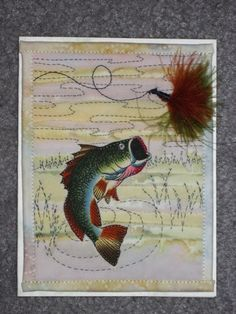 tips ,on making a quilted fly fishing card Small Quilts, Mini Quilts, Design Your Own Card, Fish Quilt, Keepsake Quilting, Wool Quilts, Fabric Postcards, Landscape Quilts, Masculine Cards
