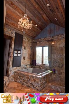 I really like this- the open-feel shower and the tub with the stone work. Stacked stone square bathtub - Lodge feel for the real home Rustic Bathrooms, Dream Bathrooms, Dream Rooms, Beautiful Bathrooms, Log Cabin Bathrooms, Lodge Bathroom, Bathroom Interior, Kitchen Interior, Modern Bathroom