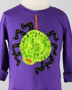 Halloween Treats - girls applique Tshirt dress pattern, pdf sewing pattern, spider, jack-o-lantern, black cat. $8.95, via Etsy.