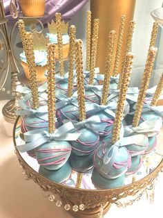 Blue cake pops at a royal prince and princess baby shower party! See more party planning ideas at CatchMyParty.com!