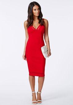 Davida Crepe Mesh Insert Midi Dress Red