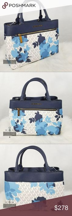 0cd8381f5d5a NWT Michael Kors Medium Hailee Navy Satchel Floral NWT