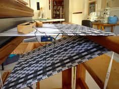Finishing up black and white cottolin table runner.