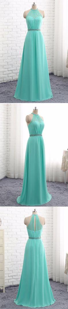 2018 Mint chiffon A-line round neckline long bridesmaid dresses, long beaded belt party dress