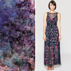 "Johnny Was Biya Embroidered Mesh Uli Dress // Claude Monet, ""The House Seen from the Rose Garden"" // deep blue, turquoise, magenta accent"