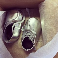 Bear Feet - Silver    Handmade baby shoes - 100% leather made in Texas.   ...