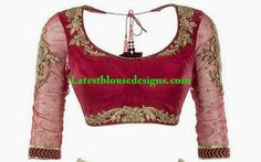 beautiful piece of handwork on rani pink blouse Pink Saree Blouse, Saree Blouse Patterns, Designer Blouse Patterns, Saree Blouse Designs, Blouse Styles, Gold Blouse, Indian Designer Sarees, Choli Designs, Indian Blouse