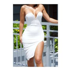 Rotita Open Back White Side Slit Sheath Dress ($13) ❤ liked on Polyvore featuring dresses, white, sleeveless dress, strapless dress, print sheath dress, white sheath dress and knee-length dresses