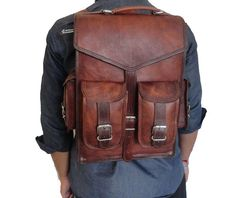 Vintage leather backpack Rucksack Sling Bag Men's by ShopOfWood
