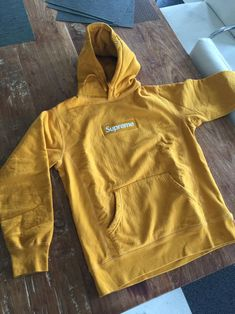 Supreme Gold Box Logo Hoodie Size M $900 - Grailed