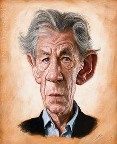 Caricatura de Ian McKellen.