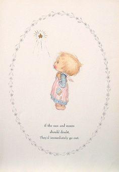 "Betsey Clark Precious Moments - ""If The Sun and The Moon Should Doubt"" - 1972 Vintage Book Page"