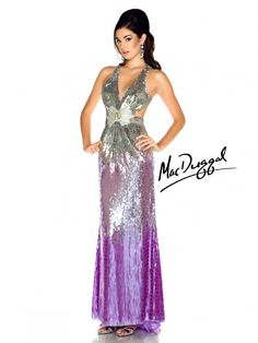 Lilac and Silver Prom Dress with Side Cut Outs