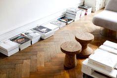 Visgraat houten vloer gerookt en verouderd