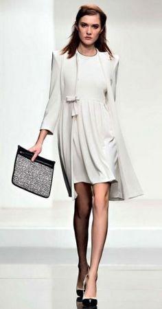 Twin - Set Simona Barbieri, cady coat, dress in cady Coat Dress, Jacket Dress, Daily Fashion, Spring Fashion, Fashion Fashion, White Fashion, Luxury Fashion, Purple Fashion, White Dress