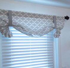 French Gray Quatrefoil Tie Up Curtain Valance  by supplierofdreams