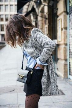 Grey Wool Blazer, Light Blue Oxford Shirt, Black Leather Crossbody Bag, Black Mini Skirt and Black Polka Dot Tights