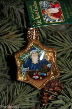 Old World Christmas Ornament - RETIRED Inside Art - Santa on Gold Star - NEW