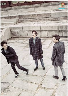 XIUMIN BAEKHYUN SUHO || The Celebrity Magazine January 2015 | wth is byun baekhyun trying to do here. And why is xiumin running away. I don't get it. 2015 will be an awkward year with exo