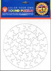 94708 Blank White Puzzle with Frame (round).....fundraising
