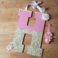 Custom Nursery Letters, Nursery Art, Baby Nursery Decor, Custom Wood Letters, Nursery Art, Custom Letters, Girls Room Decor, Hanging Letters by LybelleCreations on Etsy