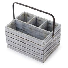 Perfect for outdoor entertaining, our galvanized-steel flatware caddy features two bucket compartments joined by a central handle for easy transport to and from the table.