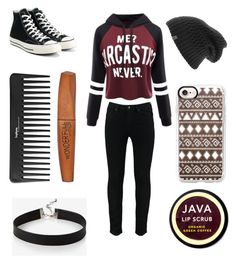 """Untitled #21"" by bamii ❤ liked on Polyvore featuring WithChic, Sephora Collection, Rimmel, Converse, Express, The North Face, Casetify and Java"
