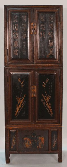 Wow. Haven't seen one like this before. Antique Asian Furniture: 3-Piece Cabinet from China