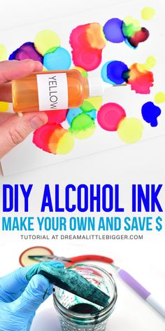 Alcohol inks are incredibly expensive. Save BIG BUCKS by making homemade alcohol inks. Great DIY for your crafts and DIY projects! You'll get vibrant gorgeous alcohol ink at a fraction of the cost! Alcohol Ink Glass, Alcohol Ink Crafts, Alcohol Ink Painting, Alcohol Inks, Alcohol Ink Jewelry, Rubbing Alcohol, Diy Craft Projects, Diy Crafts To Sell, Craft Ideas