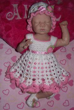 Crochet bebé niña vestido conjunto por TJsCrochetCreations en Etsy