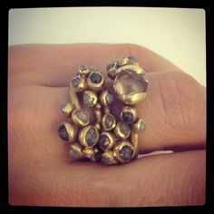 raw diamond ring stack, lustre collection - ruth tomlinson jewelry